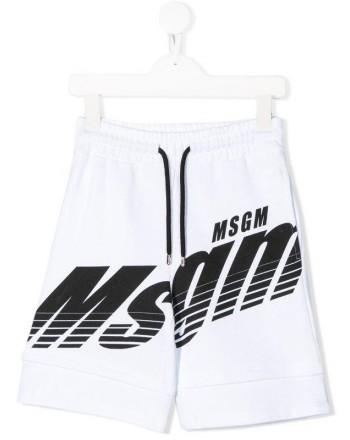 MSGM Baby- Logo Printed Bermuda Pants- White