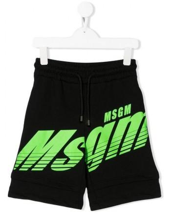 MSGM Baby- Logo Printed Bermuda Pants- Black
