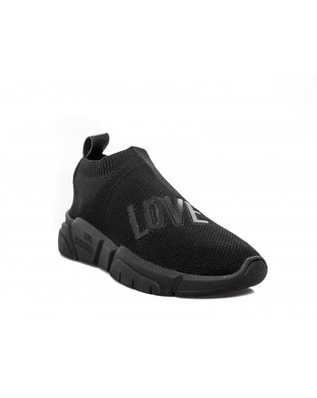 LOVE MOSCHINO - Sneakers slip-on logate - Nero