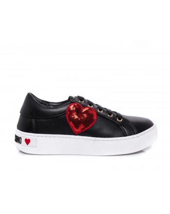 LOVE MOSCHINO - Heart Patch Sneakers  - Black