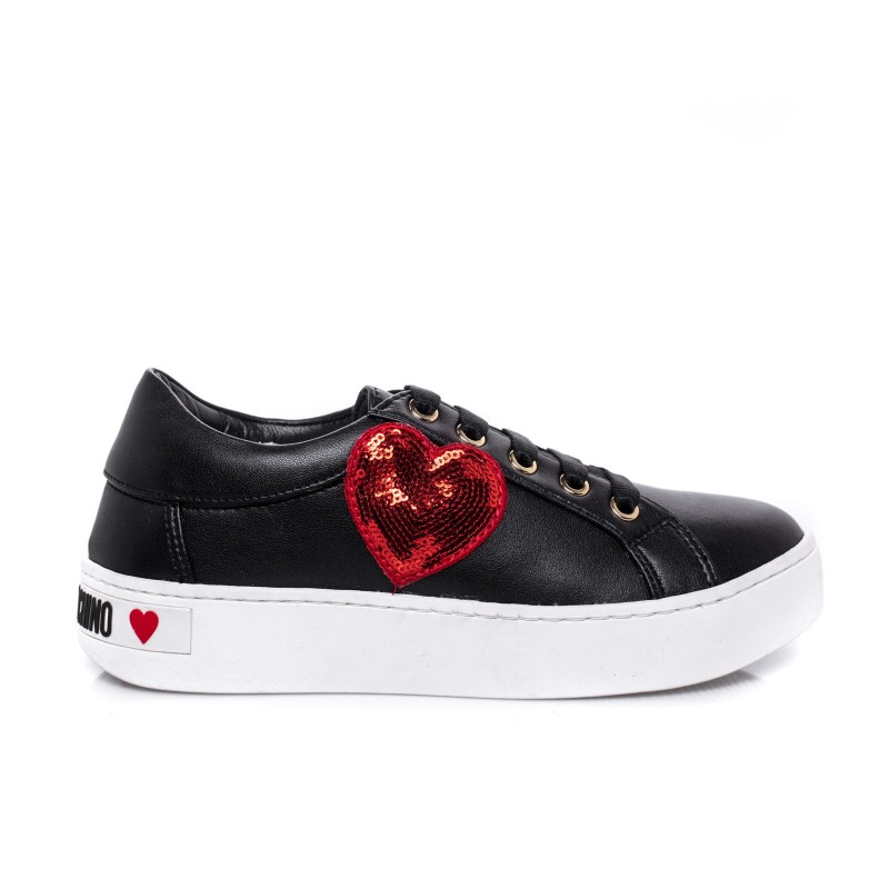 LOVE MOSCHINO - Sneakers con Patch a cuore - Nero