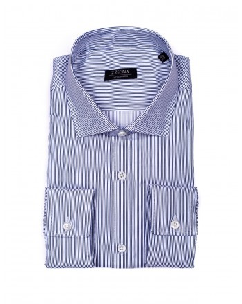 ERMENEGILDO ZEGNA -  Bacchettina Cotton Shirt - White/Blue