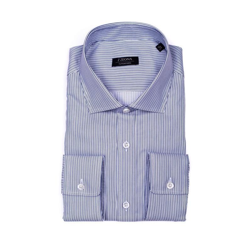 ERMENEGILDO ZEGNA - Camicia Bacchettina in cotone - Bianco/Blu