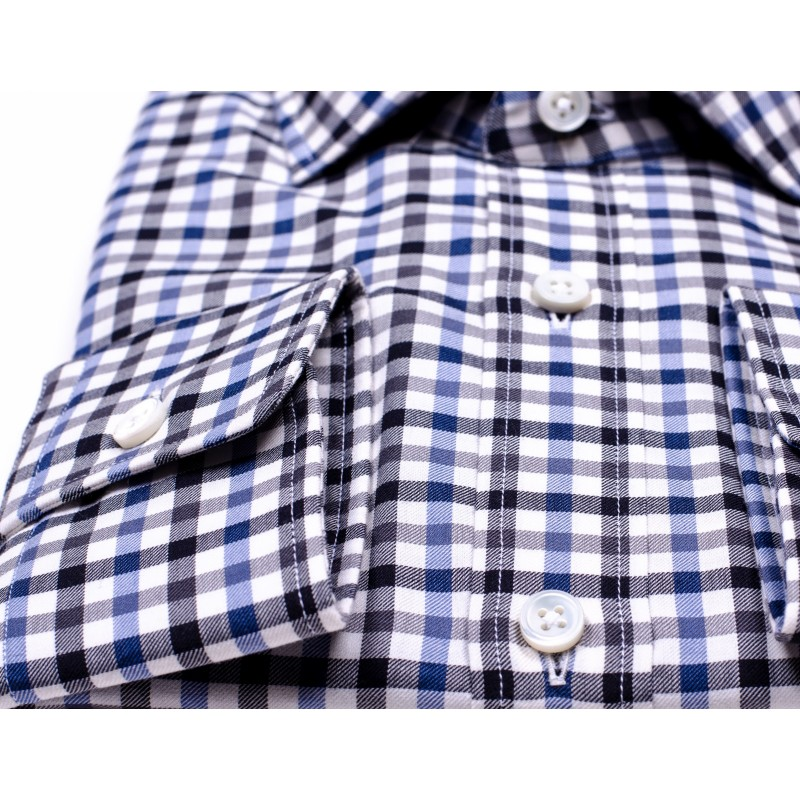 ERMENEGILDO ZEGNA - Little Squares Cotton Shirt  - Blue/Black