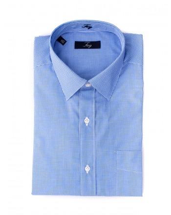 FAY - Camicia in cotone a fantasia quadretto - Bianco/Blu