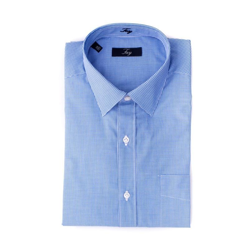 new product 7aa4e 09eae FAY - Camicia in cotone a fantasia quadretto - Bianco/Blu