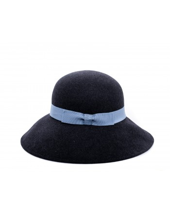 GALLO - Wide Brim Wool Hat  - Charcoal Grey/Light Blue