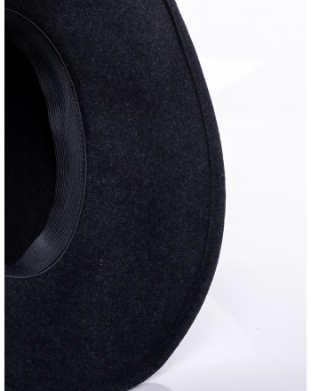 GALLO - Wide Brim Wool Hat  - Charcoal Grey/Light Blue