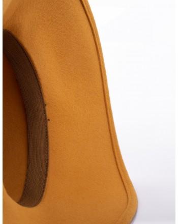 GALLO - Wide Brim Wool Hat - Curry/Moss