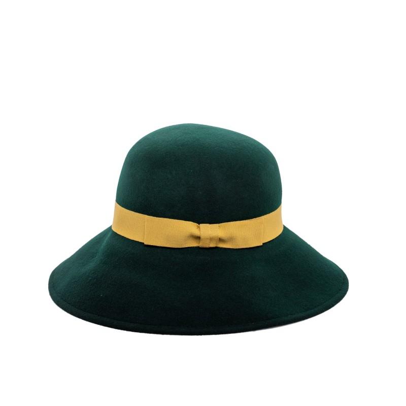 GALLO - Wide Brim Wool Hat- Loden/Gold
