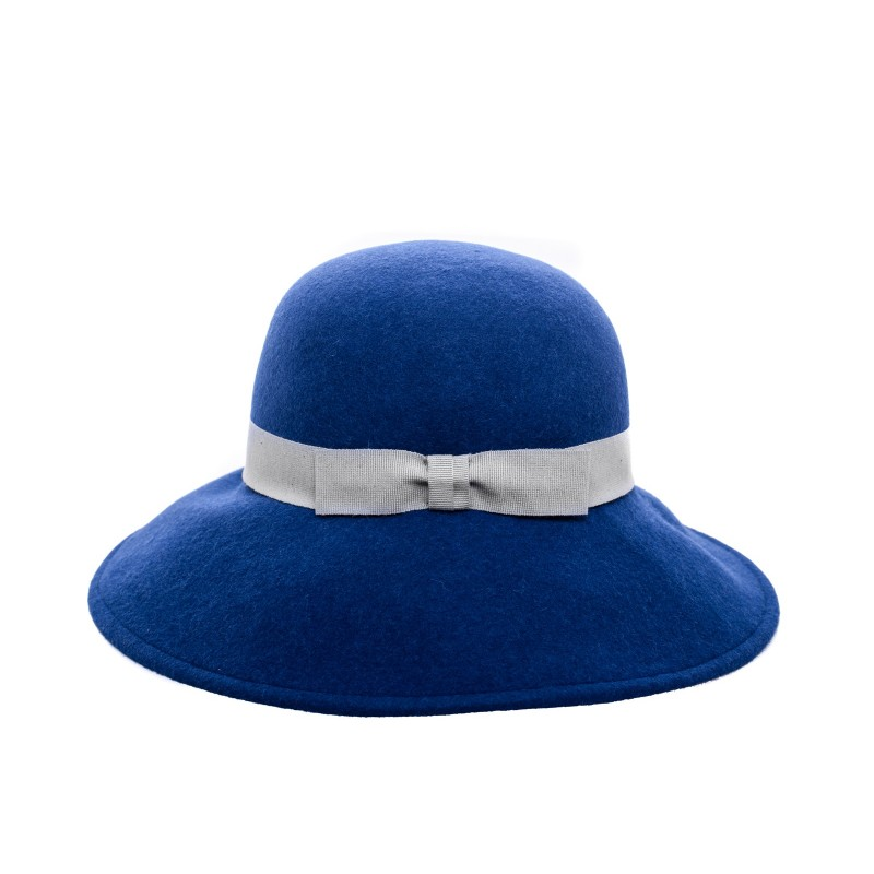 GALLO - Wide Brim Wool Hat - Blue/Silver