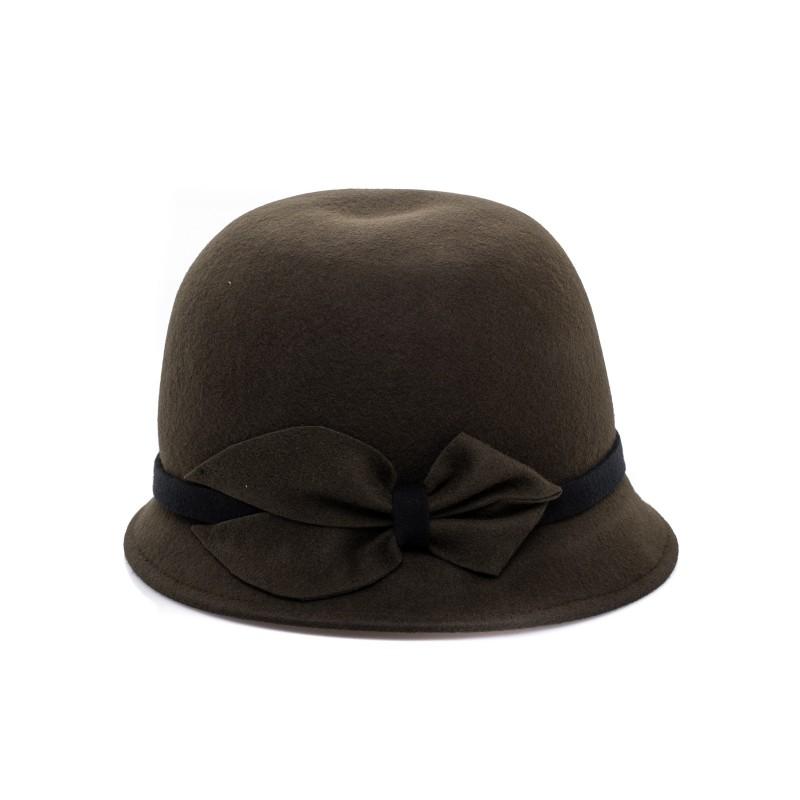 GALLO - Felt Cloche Hat - Military Green