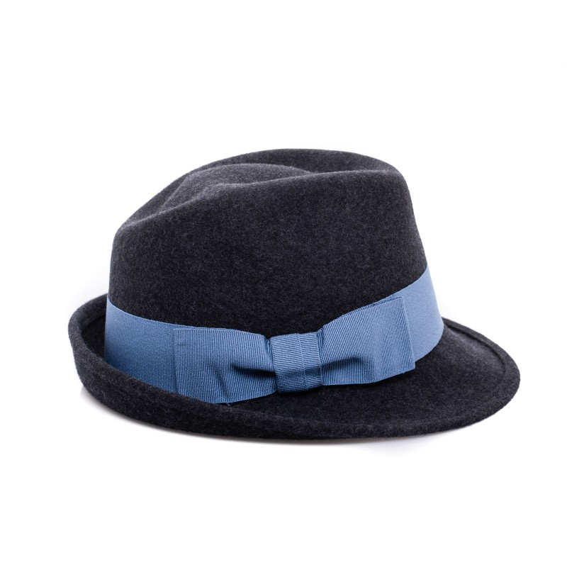 GALLO - Wool Fedora Hat- Anthracite/Light blue
