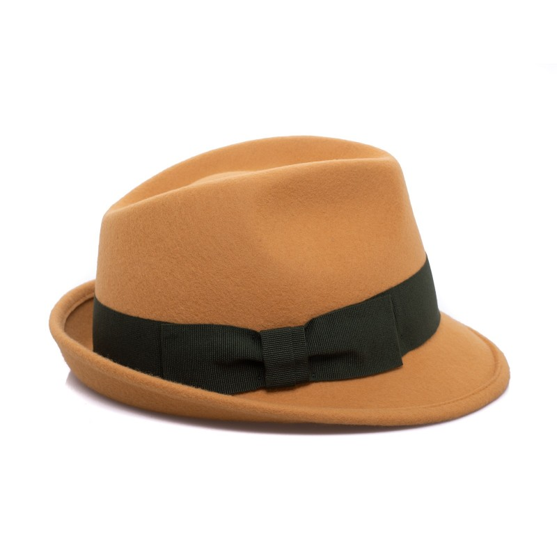 GALLO - Wool Fedora Hat- Curry/Moss