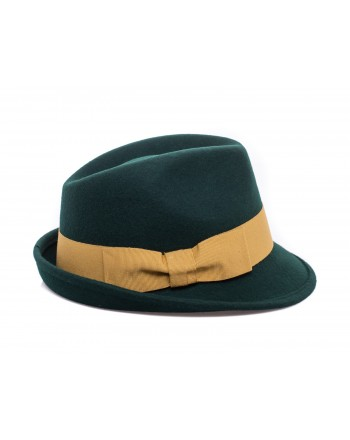 GALLO - Cappello Fedora in Lana - Loden/Oro