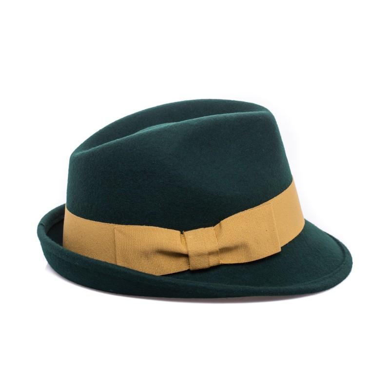 GALLO - Cappello Fedora in Lana - Loden/Oro