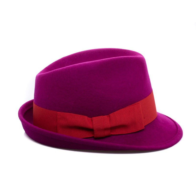 GALLO - Cappello Fedora in Lana - Magenta/Rosso