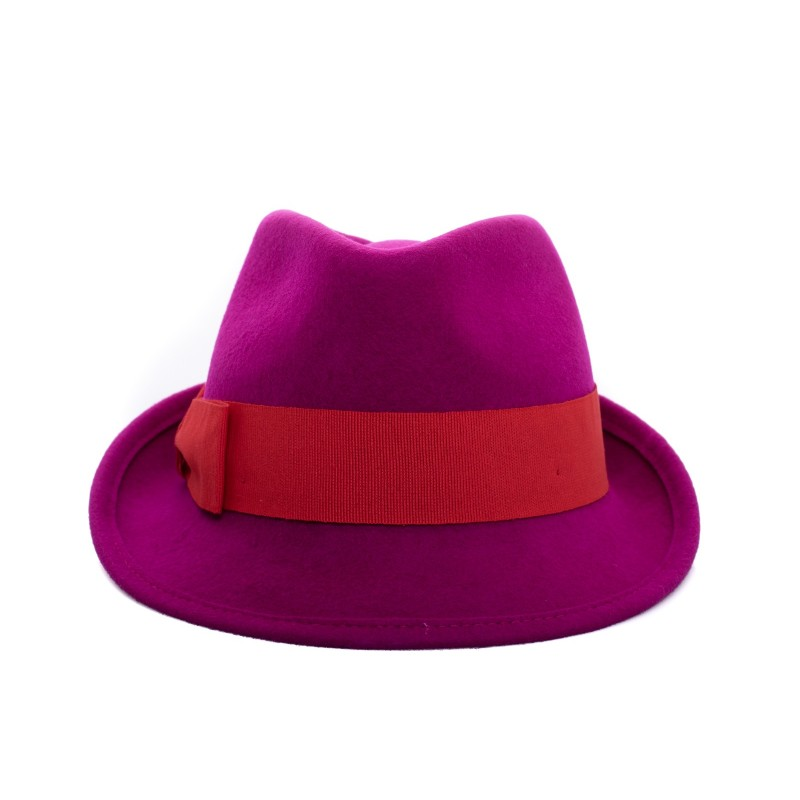 GALLO - Wool Fedora Hat - Magenta/Red