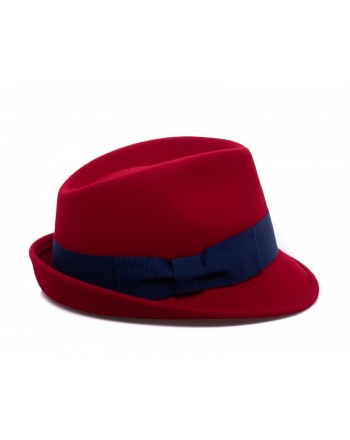 GALLO - Cappello Fedora in Lana - Mattone/Royal