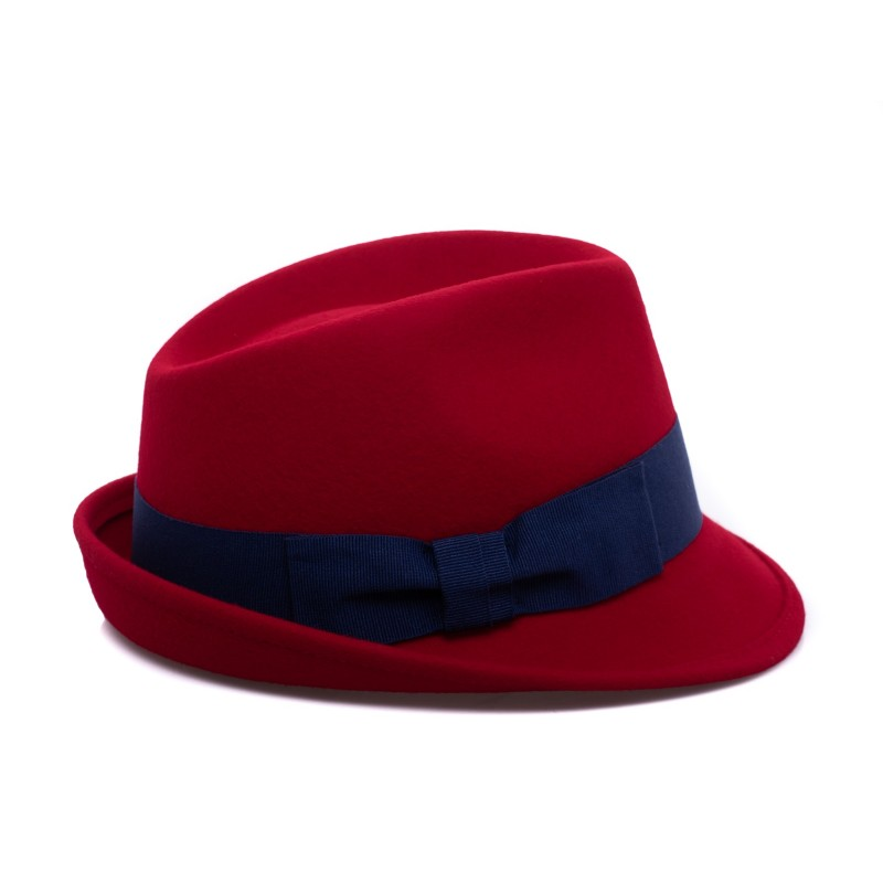 GALLO - Wool Fedora Hat - Brick/Royal