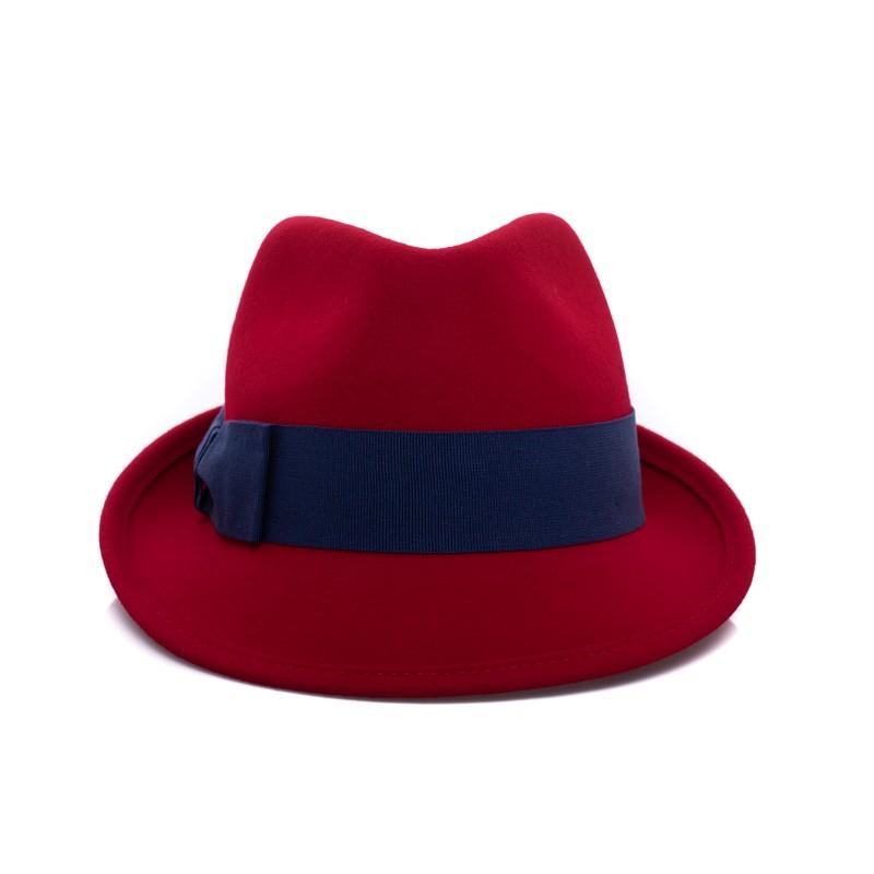 GALLO - Cappello Fedora in Lana - Mattone/Royal