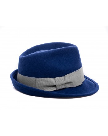 GALLO - Wool Fedora Hat - Prussia Blue/Silver