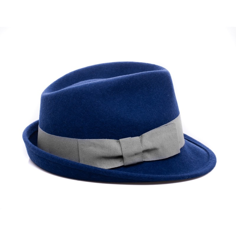 GALLO - Wool Fedora Hat - Prussia Blue/Silver