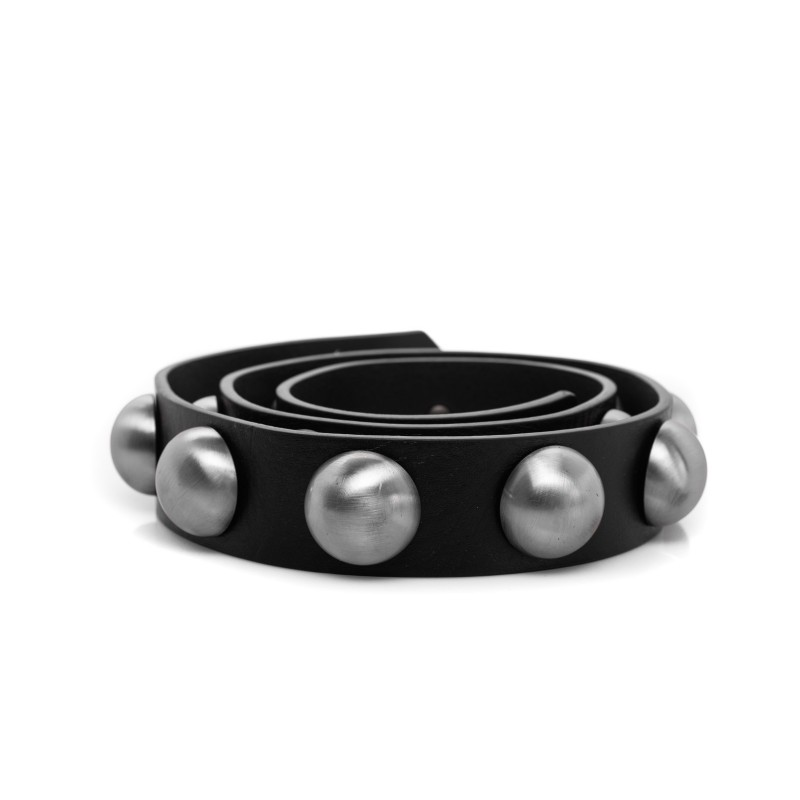 PHILOSOPHY DI LORENZO SERAFINI - Leather belt with studs - Black/silver