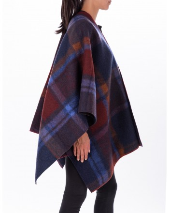 GALLO - Check patterned Wool Cape - Carbon Paper