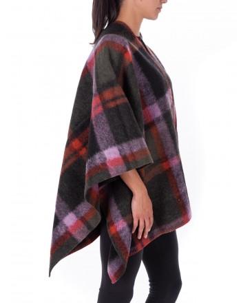 GALLO -GALLO - Check patterned Wool Cape - Mauve
