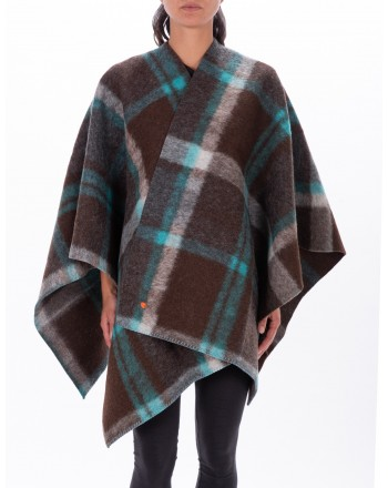 GALLO - Check patterned Wool Cape - Verdigris