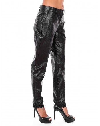 PHILOSOPHY di LORENZO SERAFINI  - Ecoleather Two Pockets Trousers - Black