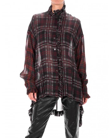 PHILOSOPHY di LORENZO SERAFINI  -Viscose Shirt with front frills- Avion/Bordeaux
