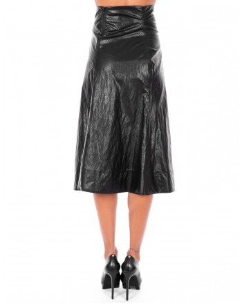 PHILOSOPHY di LORENZO SERAFINI  - Ecoleather wide line Skirt - Black