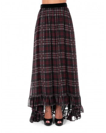 PHILOSOPHY di LORENZO SERAFINI  -  Tartan printed Long Skirt with velvet Belt - Squares