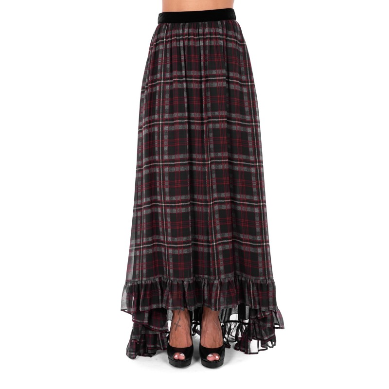 PHILOSOPHY di LORENZO SERAFINI  -  Tartan printed Long Skirt with velvet Belt - Squares