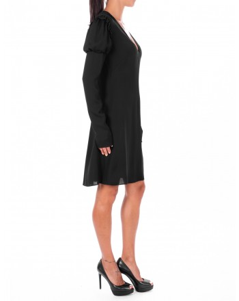 PHILOSOPHY di LORENZO SERAFINI  - V Neckline Viscose Dress - Black
