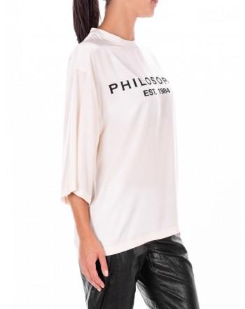 PHILOSOPHY di LORENZO SERAFINI  -  Front Logo Shirt  - Ivory White