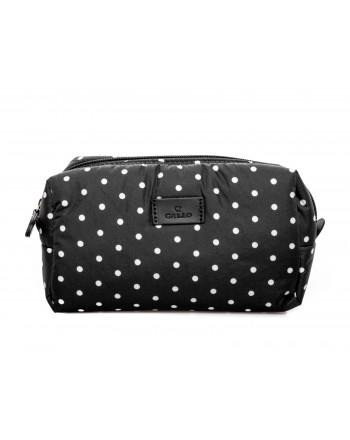 GALLO - Trousse con zip e cursore in pelle a pois - Nero/Latte