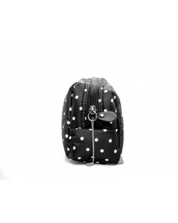 GALLO - Leather slider polka dots Trousse - Black/Milk