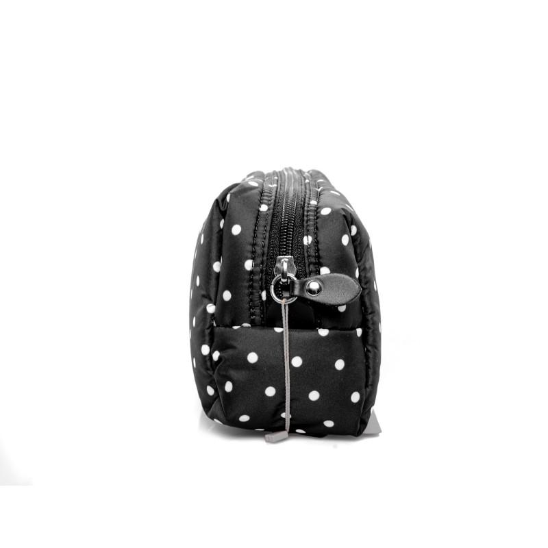 GALLO - Trousse con zip e cursore in pelle a pois - Nero/Latte