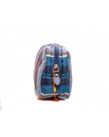 GALLO - Striped patterned Trousse - Blue/Denim