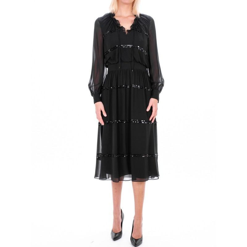 MAX MARA STUDIO - ORFEO dress in silk georgette  - Black