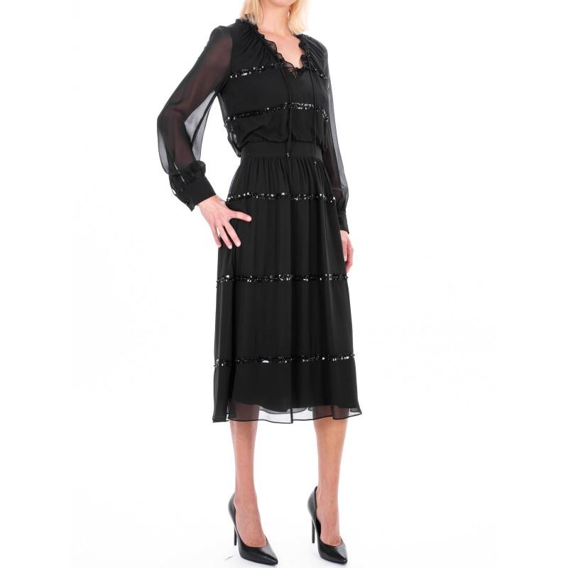 MAX MARA STUDIO - ORFEO dress in silk georgette  - Black