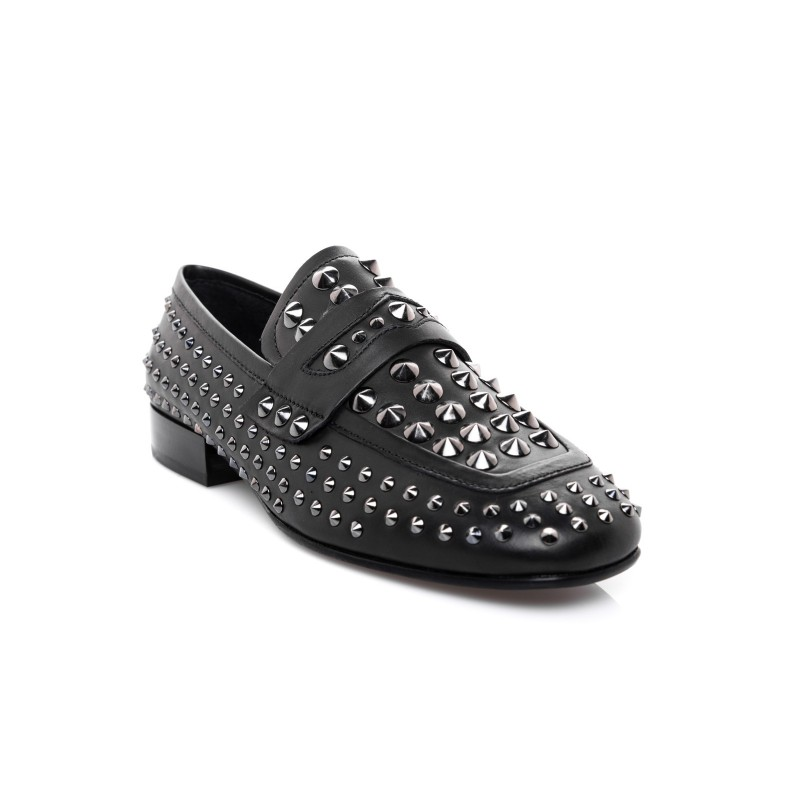 ASH - Mocassino in pelle con borchie - Nero