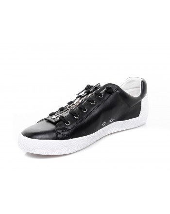 ASH - Zipped leather Sneakers - Black