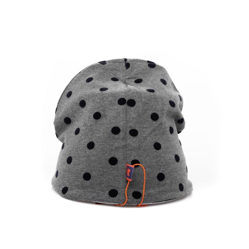 GALLO - Cappello in Pile a Pois - Cenere/Blu