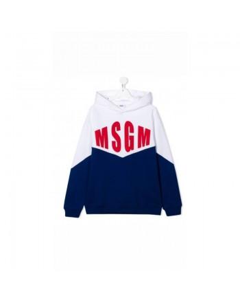 MSGM Baby- Felpa in Cotone Stampa - BIANCO/ROYAL