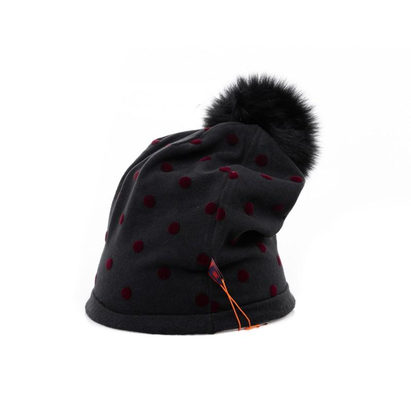 GALLO - Polka dots hat with pom pom - Black/Borgundy