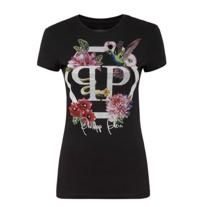 PHILIPP PLEIN - T-Shirt SS FLOWERS - Black